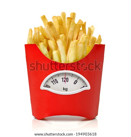 French fries box with weight scale in Kg. on white background - stock photo