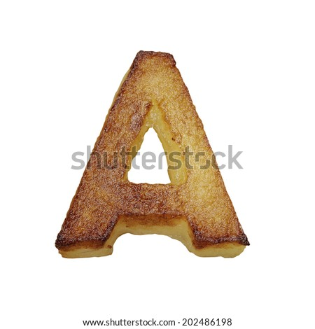 French fries font letter A. Potato font isolated on white background. - stock photo