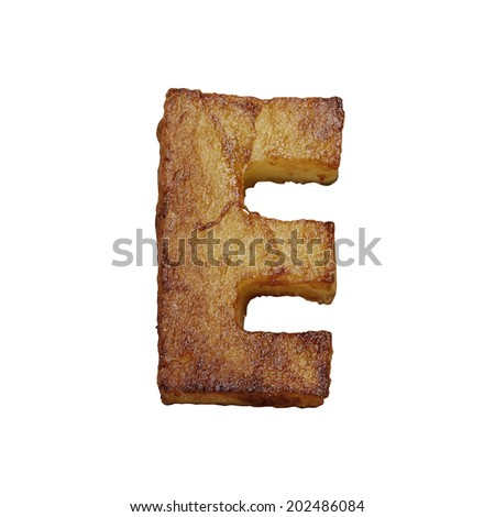 French fries font letter E. Potato font isolated on white background. - stock photo
