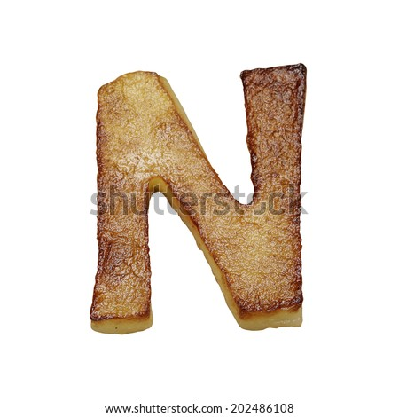 French fries font letter N. Potato font isolated on white background. - stock photo