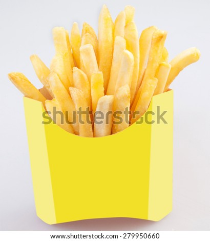 French fries in a paper wrapper on white background, Potato fries  - stock photo