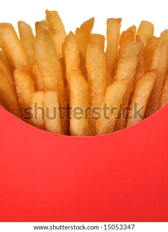 French fries in a red box close-up