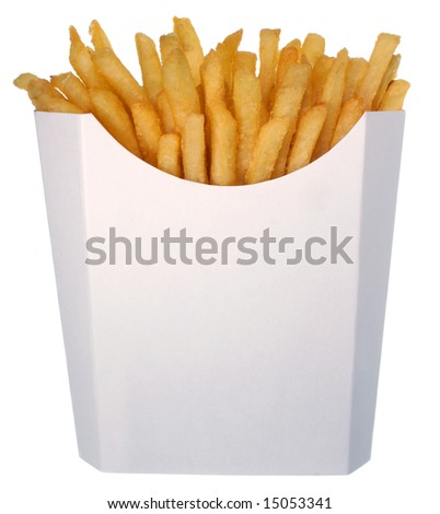 French fries in a white box - stock photo