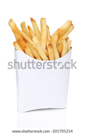 French fries in a white box isolated