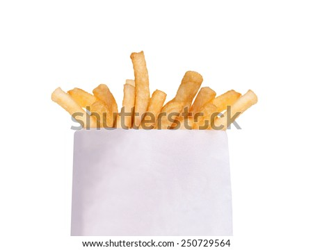 French fries in a white box isolated on white - stock photo