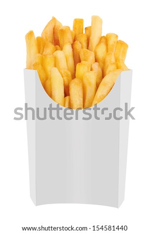 French fries in a white carton box isolated on white