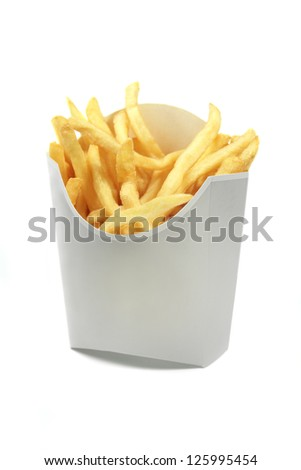 french fries in a white paper wrapper isolated on white background