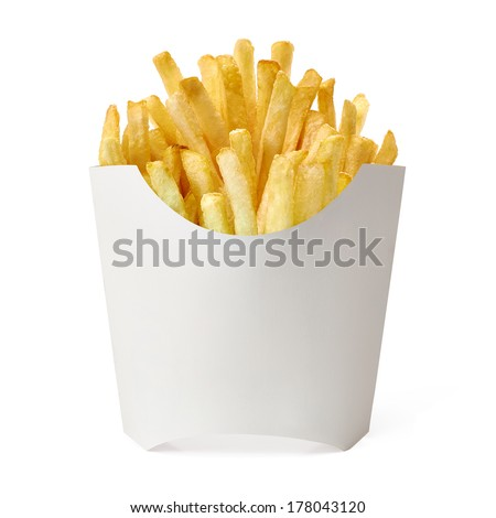 French fries in blank fry box on white background