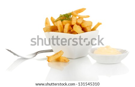 French fries in bowl isolated on white - stock photo