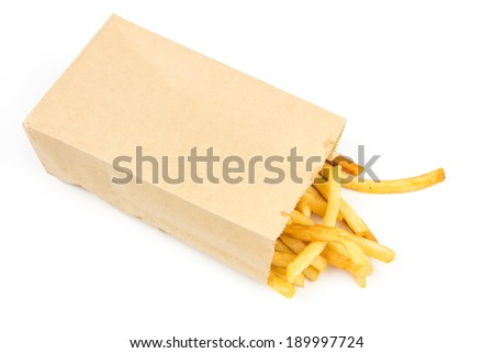 French fries in brown paper bag on white background - stock photo