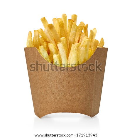 French fries in kraft blank paper fry box on white background