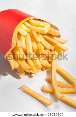 french fries in red pack