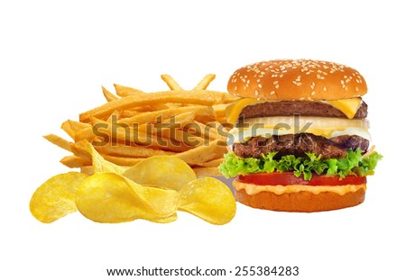 French fries in white box and cheeseburger isolated on white