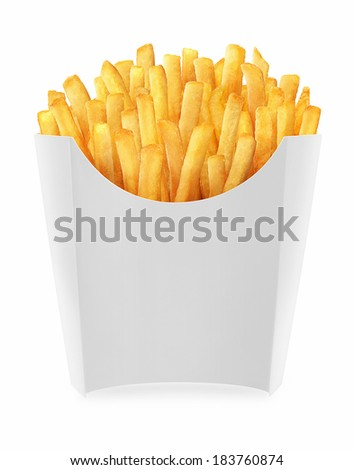 french fries in white carton
