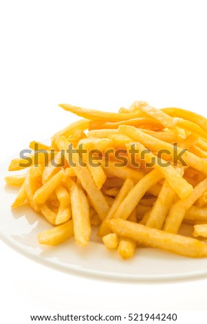French fries in white plate isolated on white background