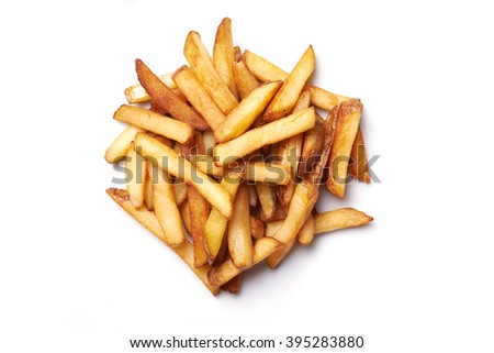 french fries isolated on white background. top view