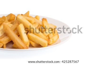french fries on a dish isolated on a white background