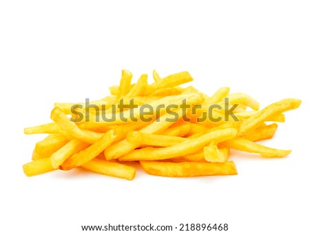 French fries on a white background - stock photo