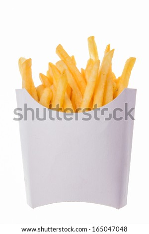 french fries portion on the white background