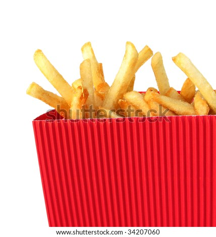 French fries potatoes in red
