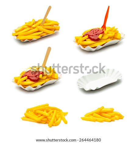 french fries potatos set with ketchup and mayonnaise sauce collage - stock photo