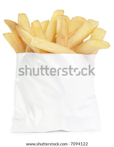 French Fries To Go - isolated on white
