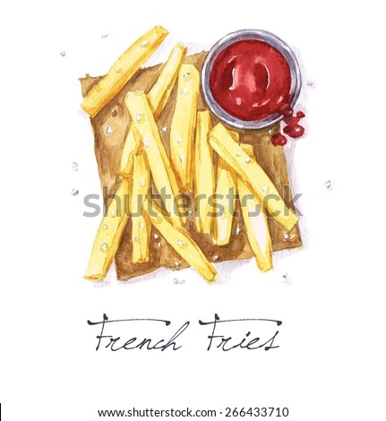 French Fries - Watercolor Food Collection - stock photo