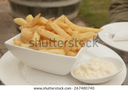 French Fries with Aioli Mayonaise Dip Meal - stock photo