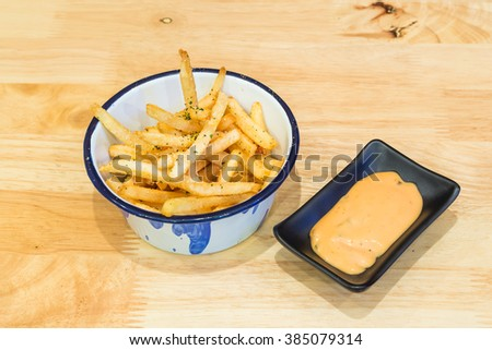 french fries with dipping set - stock photo