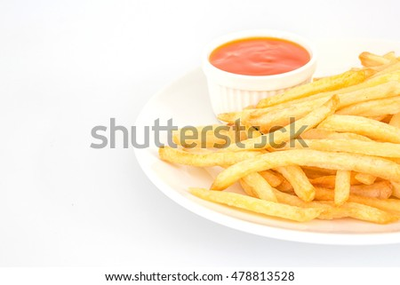 French fries with ketchup and potato on plate
