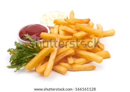 French fries with ketchup closeup over white - stock photo