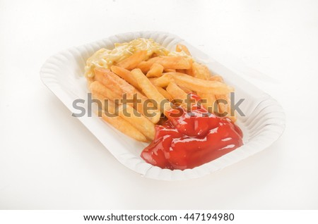 french fries with tomato ketchup and mayonnaise, called red and white - stock photo
