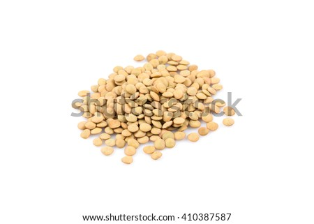 French green lentils (lentilles du Puy) on a white background