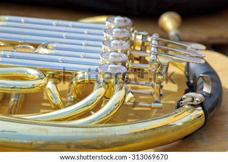French horn background - stock photo