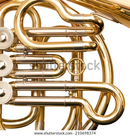French horn fragment closeup  - stock photo