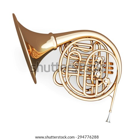 French horn on a white background. 3d render image. Music instruments series. - stock photo