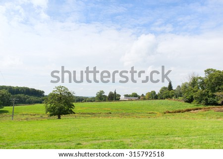 French landscape with hamlet in Limousin - stock photo