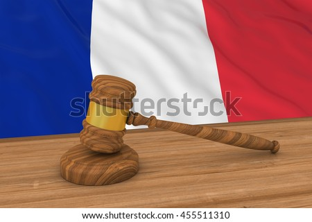 French Law Concept - Flag of France Behind Judge's Gavel 3D Illustration - stock photo