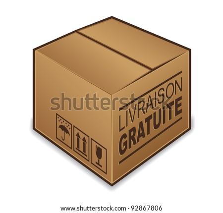 "French ""livraison gratuite"" box icon isolated on white background - stock photo"