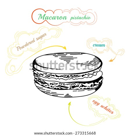 French macaron cookies isolated on white. Hand drawn illustration of  french Macaron. Vintage food icon. Design element for decorated cafe - stock photo