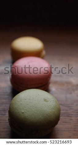 French macarons on a wooden table