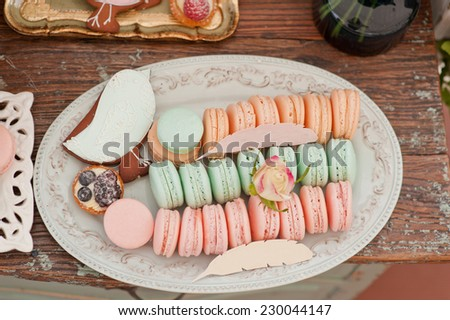 French macaroons and Gingerbread bird on a stand . Candy bar on wedding.