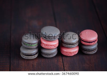 French macaroons. Coffee, chocolate, and raspberry macaroons