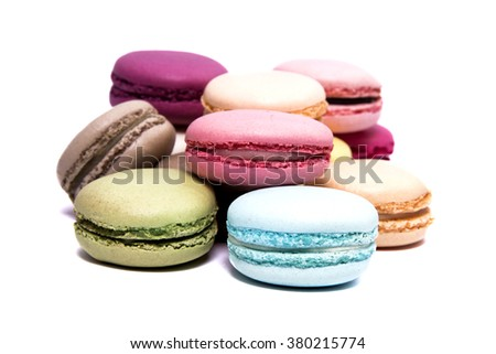 French Macaroons isolated on white - stock photo