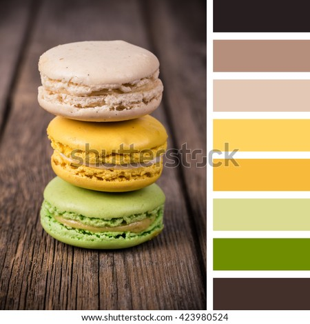 French macaroons on an old wood background. In a colour palette with complimentary colour swatches. - stock photo