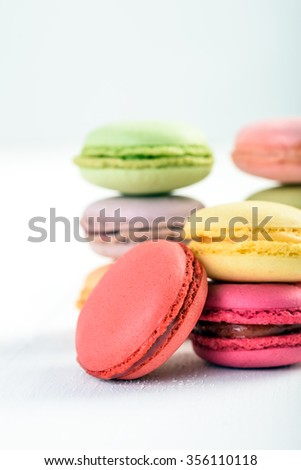 French Macaroons On White Boards Background