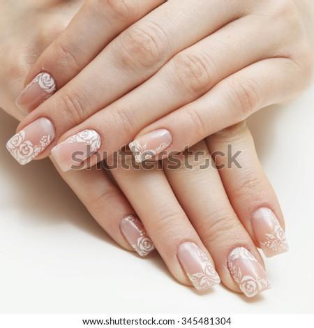french manicure isolated on white background - stock photo