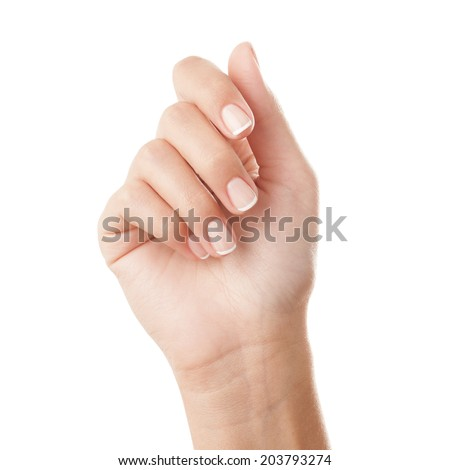 French manicured hand - isolated on white background. - stock photo