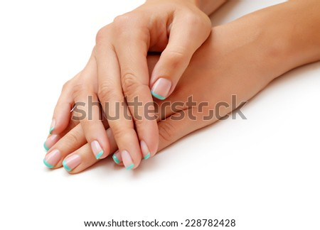 French manicured nails isolated - stock photo