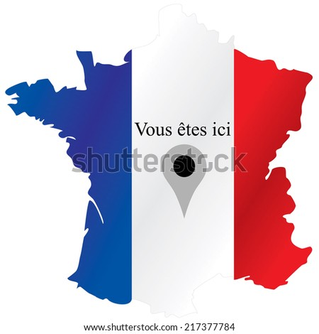 """French map, """"You Are Here."""" - stock photo"""